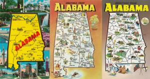 Greetings From Alabama 3x Map Postcard s
