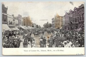 Ithaca MI Picnic Banner~Drug Store~Crowd in the Streets~Three-Story Bldgs~c1910