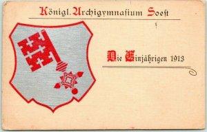 1913 German TURNERS / Gymnasts Postcard Konigl. Unrchigymnasium Soeft w Cancel
