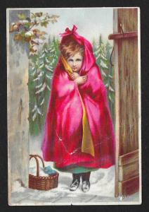 VICTORIAN TRADE CARD Dr Jayne's Tonic Girl in Red Cape