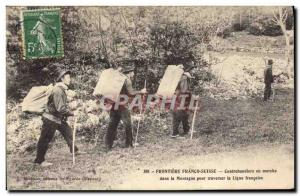 Postcard Old Customs Customs Frontiere Franco Swiss Conrebandiers running in ...