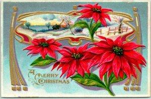 Vintage 1911 A MERRY CHRISTMAS Embossed Greetings Postcard Poinsettia Flowers