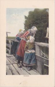 Netherlands Volendam Locals In Traditional Costume