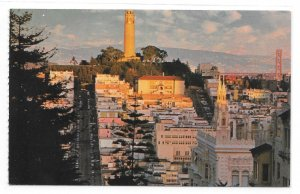 San Francisco CA Aerial View Telegraph HIll Coit Tower The Gray Line Postcard