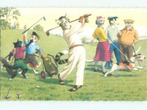 Pre-1980 Mainzer Cats GOLFING - CATS PLAYING GOLF AC6734