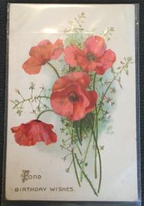 "Postcard Used ""Fond Birthday Wishes"" Flowers LB"