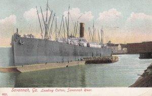 SAVANNAH, Georgia, PU-1908; Loading Cotton, Savannah River