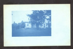 RPPC CYANOTYPE PLYMOUTH OHIO RESIDENCE HOUSE VINTAGE 1909 REAL PHOTO POSTCARD