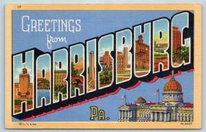 Postcard PA Large Letter Greetings From Harrisburg Pennsylvania Vintage Linen P6
