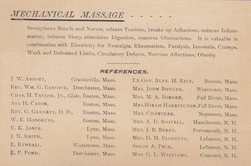 TC ; BOSTON , Massachusetts ,1890s ; J.B. de Beer, M.D. ; Mechanical Massage