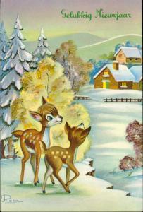 Merry Christmas Happy New Year cute deer Bamby winter scene artist Rosa