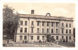 Sullivan Indiana~County Court House~Clock Top~1940s Real Photo Postcard~RPPC