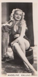 Maxeline Eklund Hollywood Actress Rare Real Photo Cigarette Card