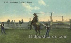 Saddling an Outlaw Western Cowboy, Cowgirl Postcard Postcards  Saddling an Ou...