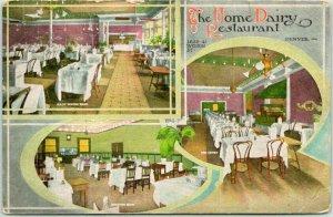 1940s Denver, Colorado Postcard THE HOME DAIRY RESTAURANT Multi-View c1910s