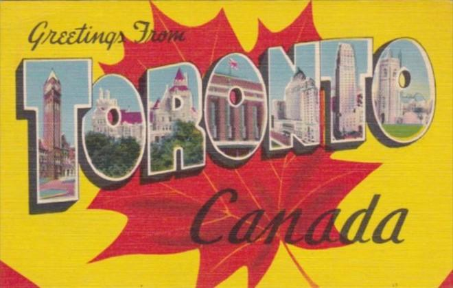 Canada Greetings From Toronto Large Letter Linen