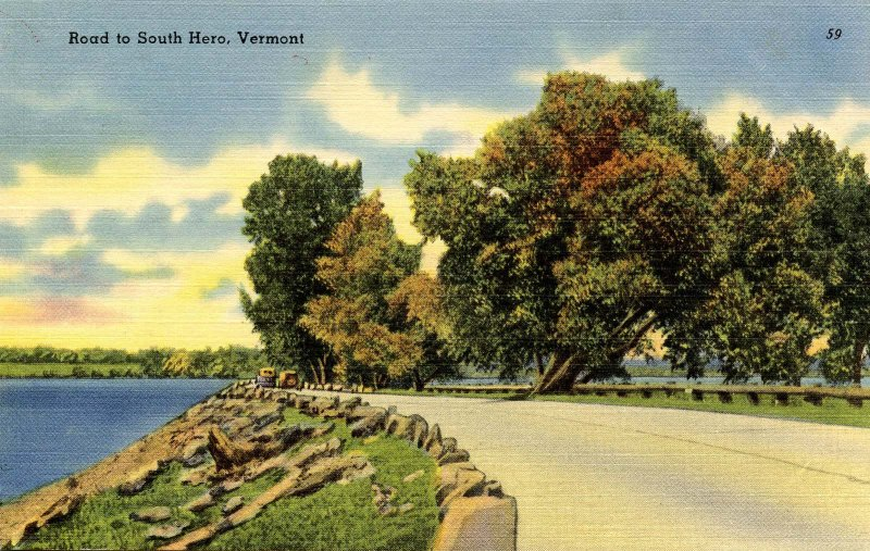 VT - Lake Champlain. Road to South Hero