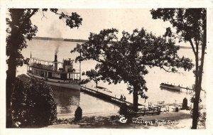 F52/ Blaney Park? Michigan RPPC Postcard c1930s Queen Steamboat Dock