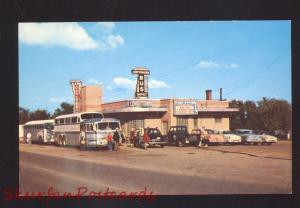 ROLLA MISSOURI ROUTE 66 REG & ANDY'S CAFÉ GREYHOUND BUS DEPOT OLD CARS POSTCARD