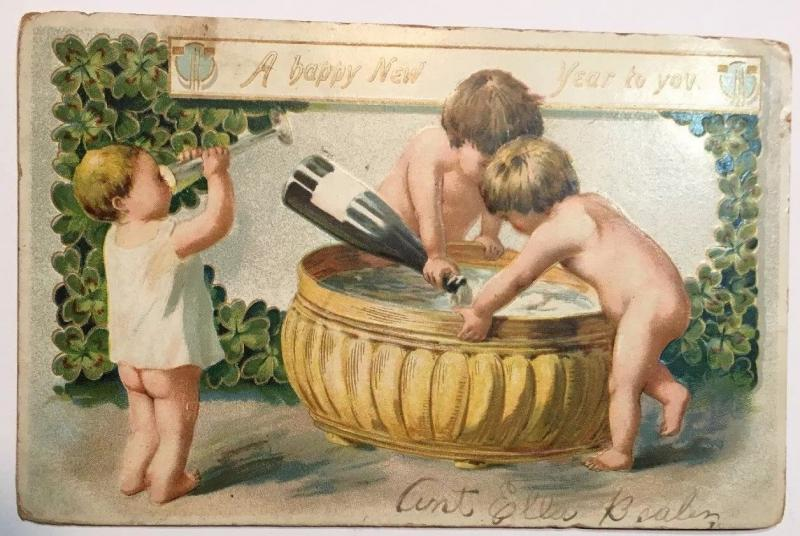 R Tuck A Happy New Year to You Babies Drinking Champagne Vintage Postcard