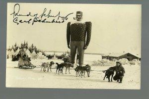 Bemidji MINNESOTA RP 1933 CROSS COUNTRY TRAVELER Dog Sled Ice Castle AUTOGRAPHED