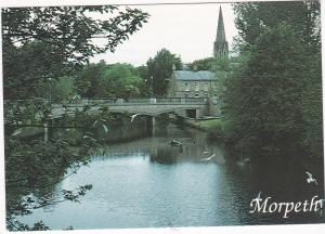 Postcard Northumberland Morpeth Oldgate Bridge