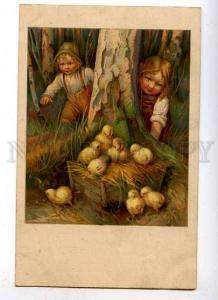 182609 EASTER Charming Plump Kids w/ Chickens Vintage LITHO PC