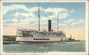 Key West FL Steamer Boat Governor Cobb c1920 Postcard