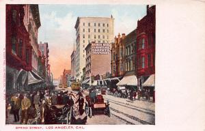 Spring Street, Los Angeles, California, Early Postcard, Unused