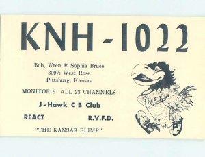 Pre-1980 RADIO CARD - CB HAM OR QSL Pittsburg Kansas KS AH0946
