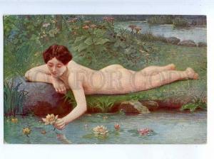 226645 NUDE Nymph MERMAID Waterlily by SCALBERT Vintage SALON