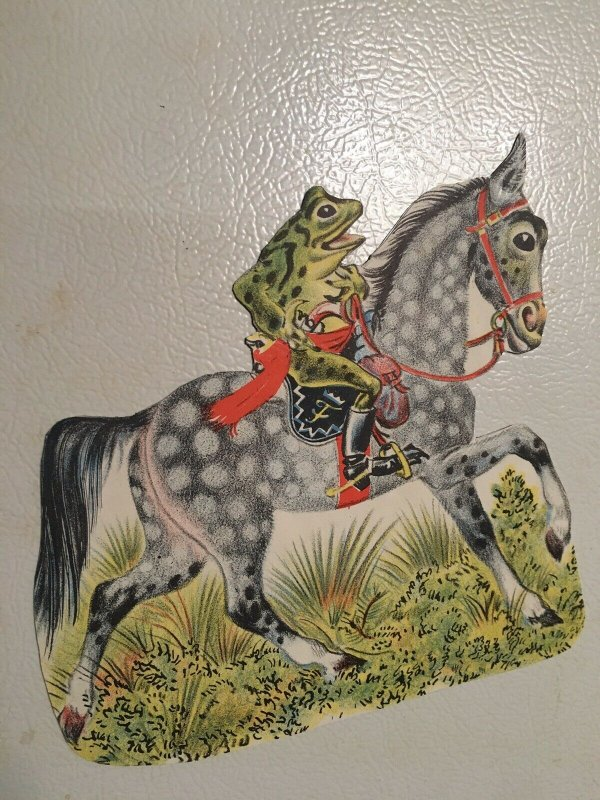 """Frog Riding Dapple Gray Horse 7"""" Refrig Magnet Cut From Orig Vtg Storybook Page"""