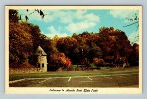 Charleston WV, Hawks Nest State Park Entrance, Chrome West Virginia Postcard
