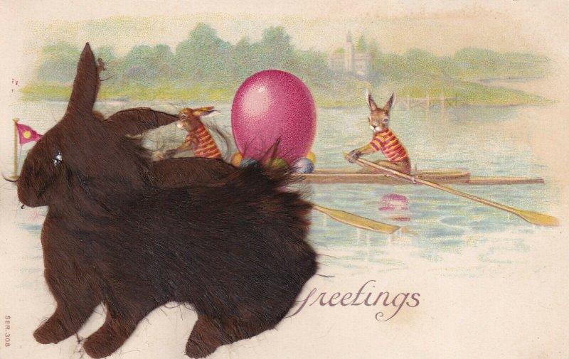 GREETINGS, Real Fur Black Rabbit Hair, Colored Eggs, Canoeing, 1900-10s