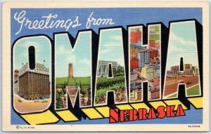 1940s Vintage OMAHA Nebraska Large Letter Postcard CURTEICH Linen c1940s Unused