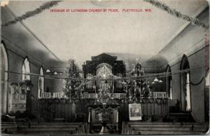 Platteville Wisconsin~Lutheran Church of Peace~Christmas Decorations~Tree~c1910