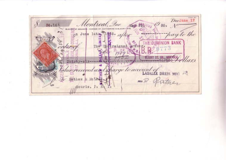 Dominion Bank Cheque with Stamps Montreal 1935
