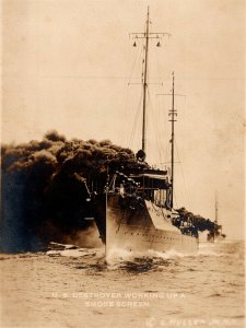 c1915 RPPC US Destroyers Working Up A Smoke Screen Real Photo by E Muller Jr