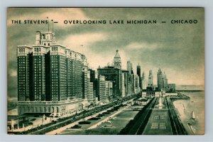 Chicago IL-Illinois, The Stevens Hotel, Advertising, Vintage Postcard