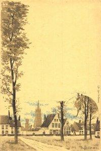 Netherlands Village Houses Church Postcard