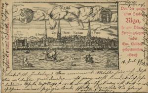 latvia russia, RIGA, Panorama from the Daugava (1899) Stamp
