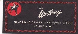 England London Westbury Hotel Vintage Luggage Label lbl0240