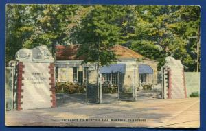 Memphis Tennessee tn entrance to Zoo linen postcard