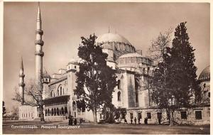 Turkey Old Vintage Antique Post Card Mosque Souleyamniee Constantinople Unused