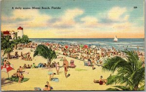 Miami, Florida Postcard A Daily Scene Bathing Beach View Tichnor Linen 1946