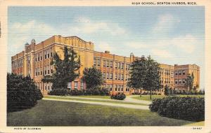 Benton Harbor Michigan~High School~1935 Linen Postcard