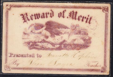 Reward of Merit  Two Cards Plastic Laminated