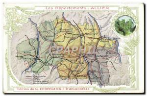 Old Postcard geographical maps of Chocolaterie & # 39Aiguebelle Allier Bourbo...