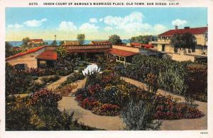 Ramona's Marriage Place, Old Town, San Diego, California, Early Postcard, Unused