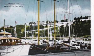 Michigan Mackinac Island Yacht Harbor Showing Fort Mackinac
